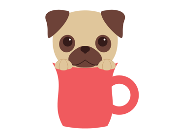 placing the pug in the cup