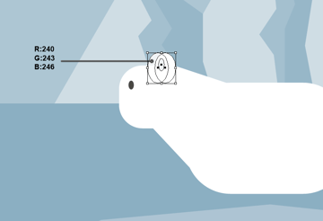 creating the ears of the polar bear