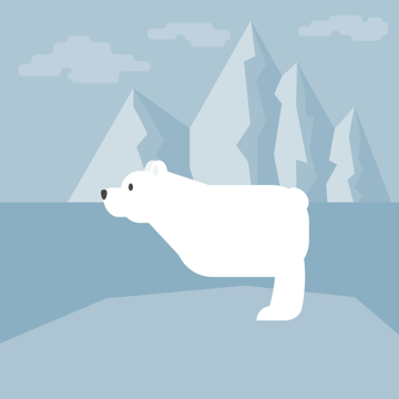 placing the paw of the polar bear