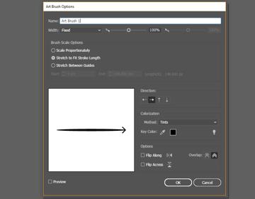 Art Brush options window