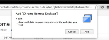 Confirm that you want to download Chrome Remote Desktop