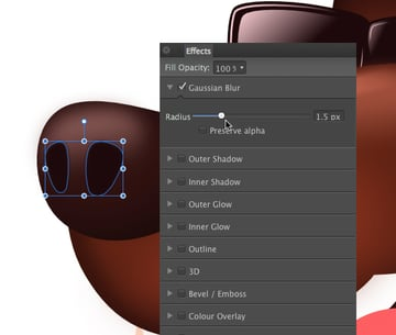 add a small gaussian blur of 15 pixels to the nostrils