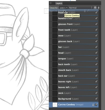 moving the canine cowboy sketch layer to the top of the layer stack