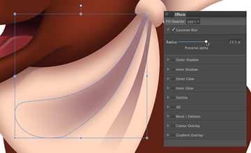 Apply a transparency gradient with the transparency tool y to both folds