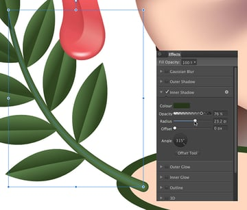 add an inner shadow to the selected branch