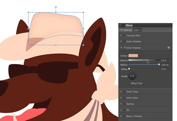 applying an inner shadow effect to the top of the hat
