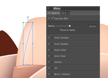 apply an 11 pixel gaussian blur and reduce the opacity to 75