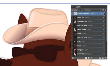 unhide the sketch layer to see the indent area to create