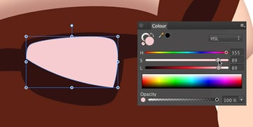 fill the new shape with a light pink colour