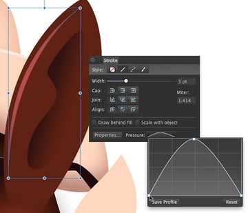 create a 3 path in a light browny red colour then apply a pressure setting