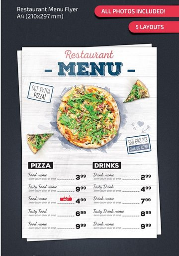 Clean Restaurant Menu
