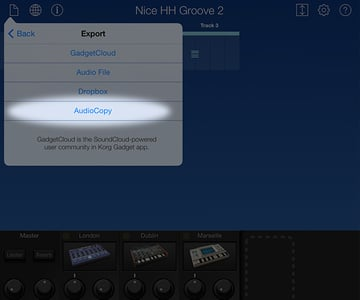 Selecting AudioCopy will allow you to render out an audio file to share with another music app
