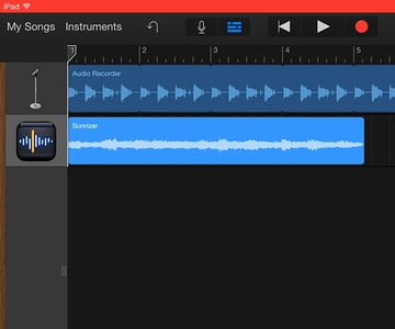 After recording from the Node app the recorded audio file will be available in the host app for editing