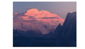 Stylizing the top fo the mountain by painting in with sky color