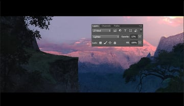 Setting the layer mode to lighten and opacity to 12