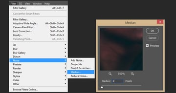 Adding median effect to smart object