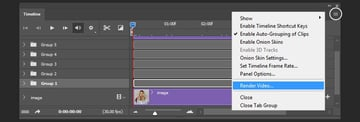 Opening render panel