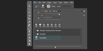 opening the settings of the custom brush