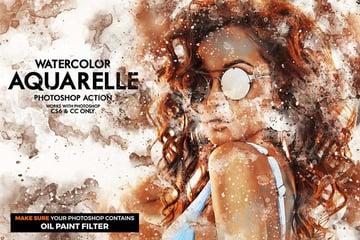 Aquarelle Watercolor Photoshop Action