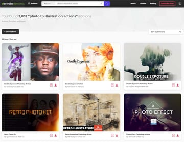 photo to illustration actions add-ons on Envato Elements