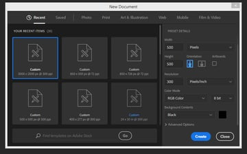 creating a new document in Photoshop