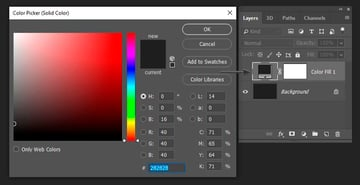 changing the color of the solid color fill layer