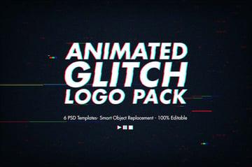 Animated Glitch Logo Pack - Photoshop Templates