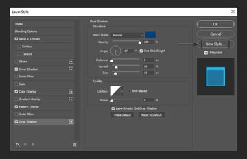 adding drop shadow layer style