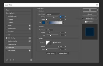 adding outer glow and creating a new layer style