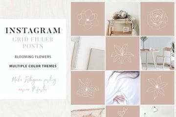 Instagram Floral Grid Filler Posts Template