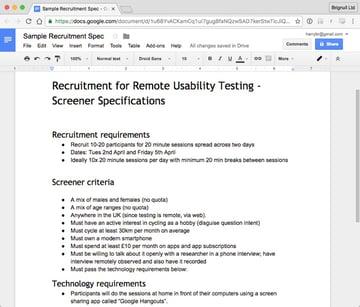 Screenshot of a basic recruitment specification document