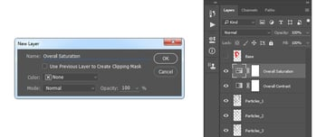 Creating the hue saturation adjustment layer