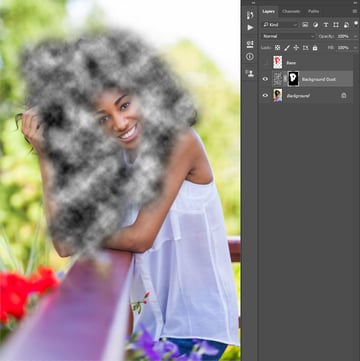 Making layer mask to background dust layer using selection