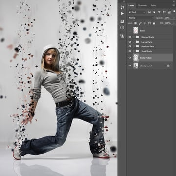 Renaming Layer 2 to Parts Motion and changing its opacity