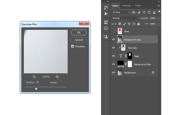 Adding gaussian blur filter to Background copy layer