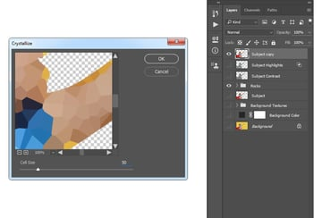 Adding filter pixelate crystallize to the Subject copy layer