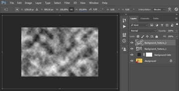 Creating a new layer named the Background_Texture_2 adding filter render clouds and transforming the layer