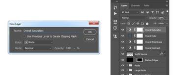 Creating new saturation adjustment layer