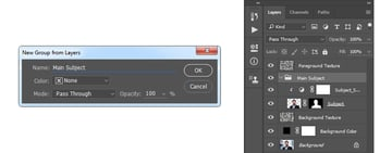 Creating a new group from layers