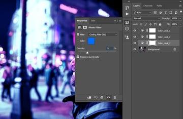 Cyberpunk look Photoshop Tutorial adjusting photo filter for cyberpunk lighting