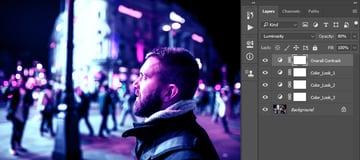 Cyberpunk Design Tutorial changing blending mode and opacity for cyberpunk lighting