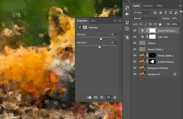 adjusting vibrance and saturation
