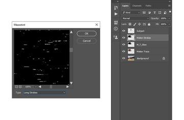 adding mezzotint photoshop filter