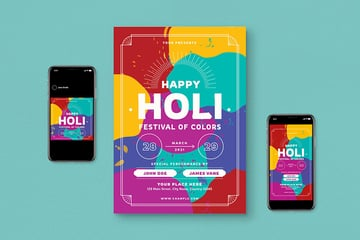 holi festival flyer set