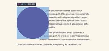 A paragraph wrap around an circle shape element