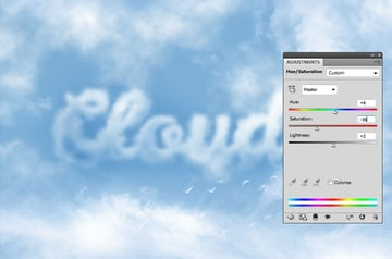 How to Make Clouds in Photoshop Tutorial Hue Saturation Adjustment