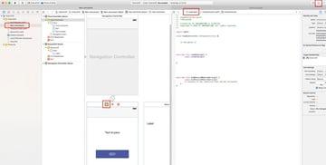 XCode window split into two parts