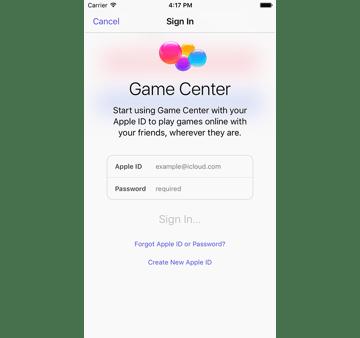 Game Center Sing In screen