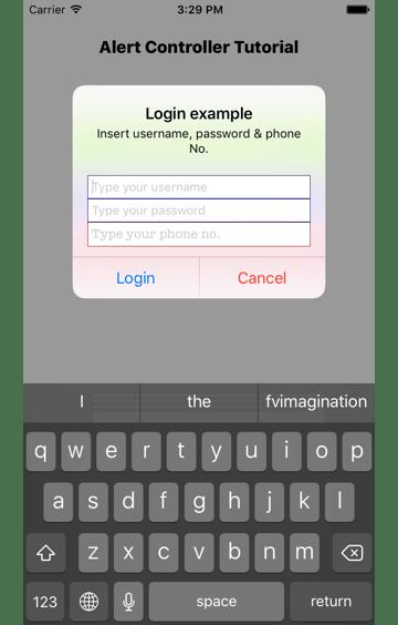 Alert controller with 3 text fields