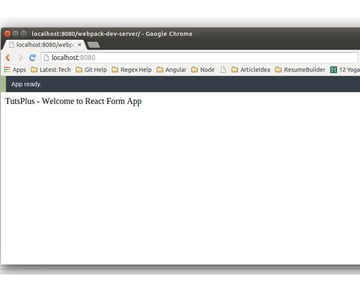 React Form App Display Screen